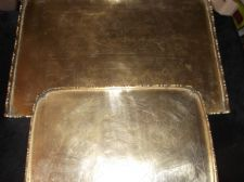 "2 x VINTAGE BRASS TRAYS 9.5"" & 12.5"" ORIENTAL CHASED DESIGN FIGURES ORNATE RIMS"